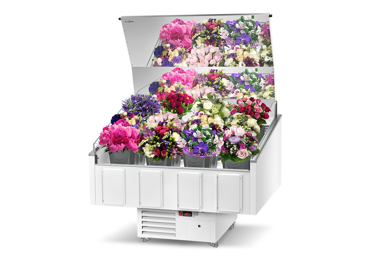 white refrigerated flower counter