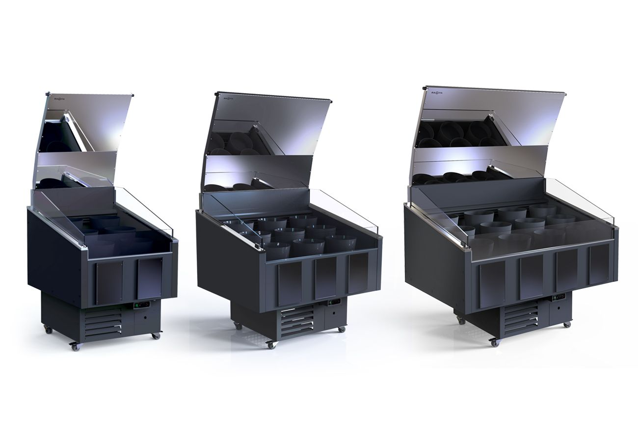 3 available sizes in refrigerated flower counter