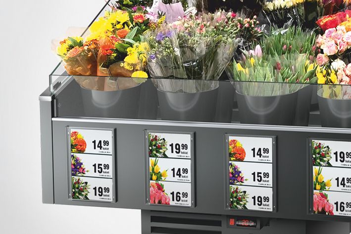 panels in refrigerated flower counter