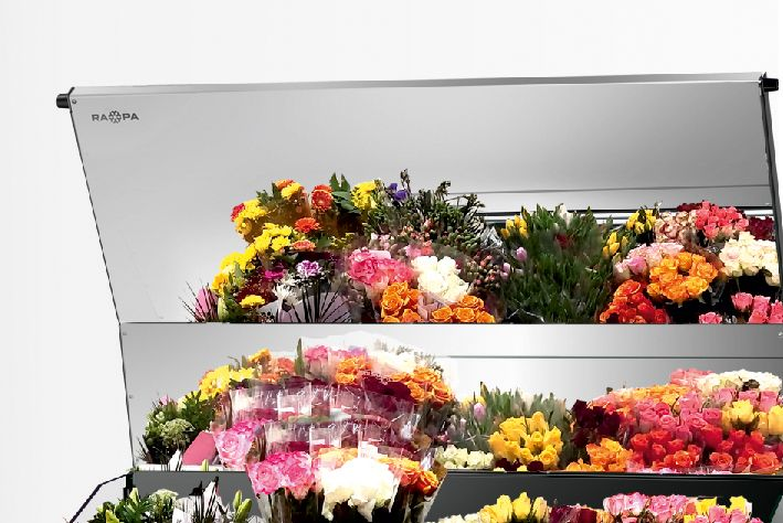 """stainless steel cover """"super mirror"""" in refrigerated flower counter"""