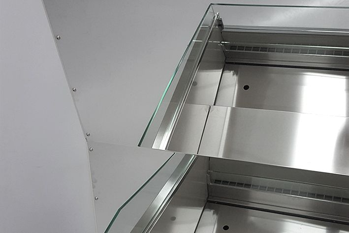 mirror cover and sides in refrigerated flower counter