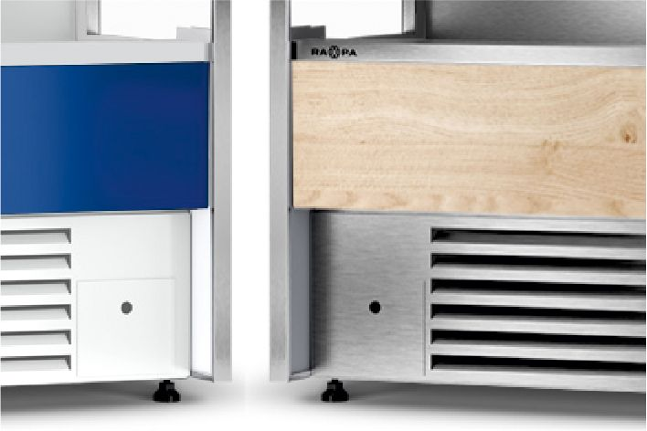 painted steel, stainless steel  or made of furniture board panels in multideck refrigerated displays