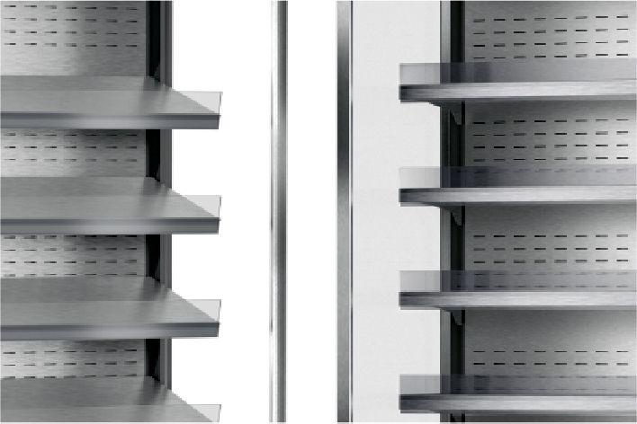 shelves in multideck refrigerated displays