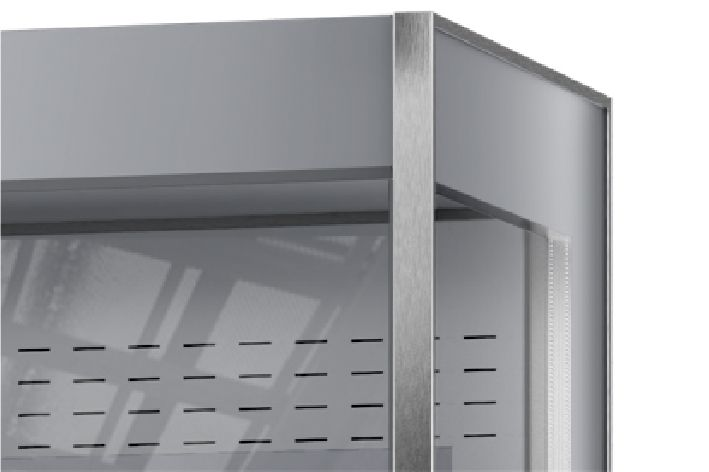 Sides and door made of double-tempered in multideck refrigerated displays