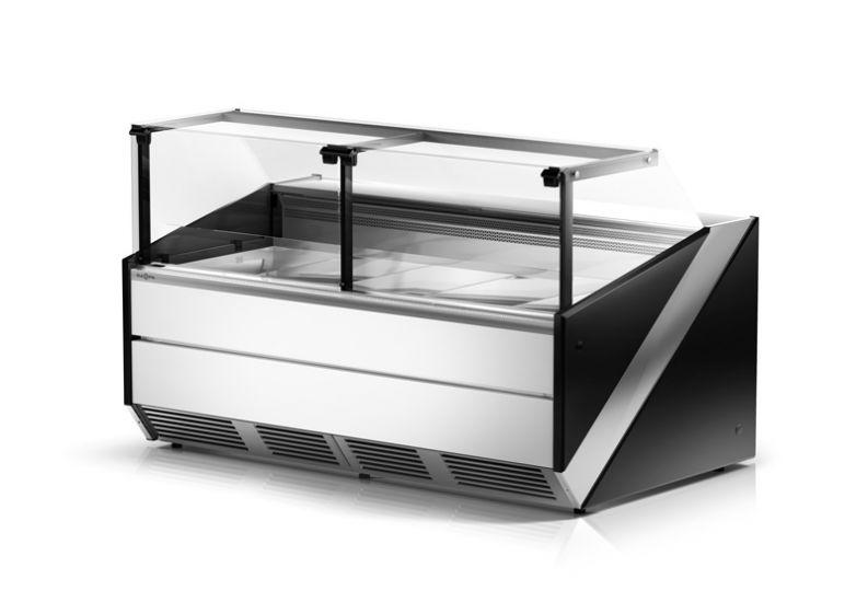 urządzenie chłodnicze, lada z szybą prostą do ekspozycji mięsa, nabiału i garmażerii, refrigerated counter with vertical glass